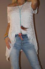 !!! SALE !!! Italy Häkel Tunika Blogger Bluse Top Trend S 36 - 42/44 XL Weiß