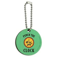 Punch The Clock Funny Humor Wood Wooden Round Keychain Key Chain Ring