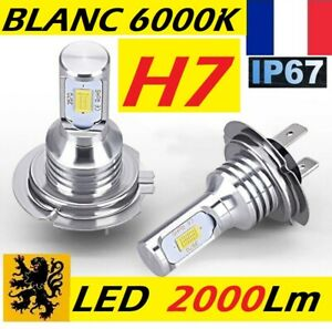 2x H7 LED 10W 12V 6000k 2000Lm Ampoules ISO COMPACTS ALU HQ IP67 FEUX PHARES