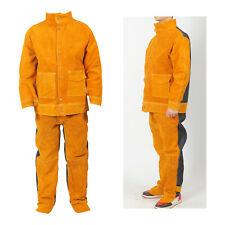 Cowhide Leather Welding Jacket Pant For Men Welding Cloth Suit Blacksmith