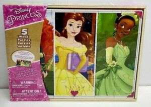 Disney Princesses 5 Puzzle Pack Wood Storage Box Tray Educational Learn Belle