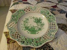 HEREND Open Work Pierced Lattice Edged  Indian Basket pattern Green Wall Plate