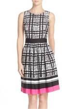 ELIZA J HOUNDSTOOTH PRINT FIT & FLARE DRESS sz 12