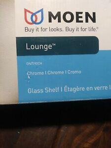 MOEN Lounge 24 in. W Glass Bath Shelf in Spot Resist Chrome