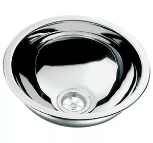 Polished stainless steel sink with waste / plug - 290mm