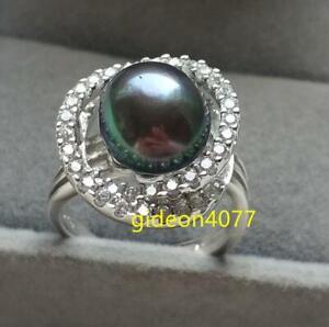 PERFECT AAA+ 11-10MM BLACK GREEN Tahitian GENUINE PEARL RING adjustable