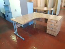L Shaped Desk  Right Hand Return,1600mm with match three draw unit in walnut