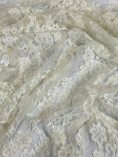 """Ivory Off White Stretch Netting Apparel Fabric Lace Floral By The Yard 58"""" Wide"""