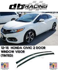 12-15 Civic Coupe 2dr JDM Window Rain Guard Visors (Tinted) VTEC