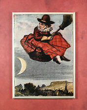 Witch in a Basket Fridge Magnet - Besom Crone Magic Pagan Witchcraft Wiccan