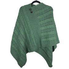 Aran Sweater Market Green Wool Cable Knit Poncho Ireland Size XL
