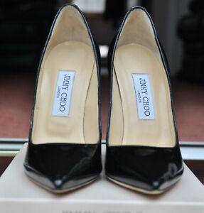 Jimmy Choo Anouk 120cm High Heels Black Patent Leather Size 38 / 5 UK Boxed