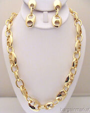 38 inch Gold Statement Chunky Heavy Chain Link Bling Necklace Earrings