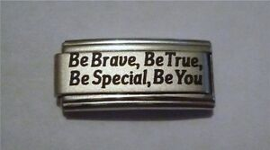 9mm Italian Charms Superlink L96 Be Brave Be True Fits Classic Size Bracelet