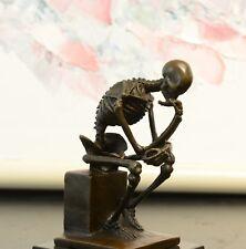 Signed: Milo Bronze Statue Skull Skeleton thinker sculpture