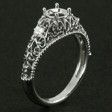 1/2ct VINTAGE FILIGREE DIAMOND 5MM SEMI MOUNT ENGAGEMENT RING ROUND SETTING 14K
