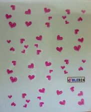 Valentines Nail Art Water Decals Stickers Pink Love Hearts Gel Polish (BLE924)
