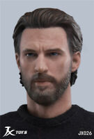 JXTOYS 1/6 Captain America Head Male PVC Carved Sculpt Model JX026 Fit Figure