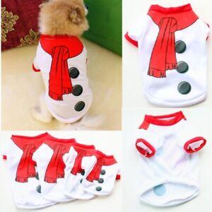 Pet Puppy Small Dog Christmas Jumper Santa Elf vest Clothes XS/S/M/L T-Shirt UK