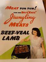 """1950's NOS Juengling Meats Cincinnati Ohio Butcher Store Paper Poster 14x 20"""""""