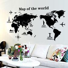 Removable World Map Art Vinyl DIY Flower Wall Sticker Decal Mural 60*90cm