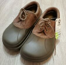 New Tags Crocs Shoes  Leather Laceup Solid Mens 5 Womens7all terrain/brown/green