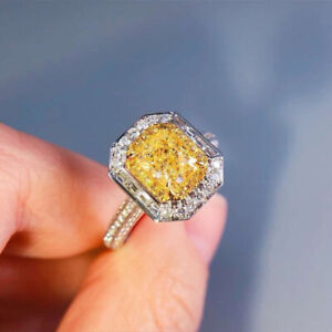 Elegant Women's 925 Silver Citrine Rings Square Wedding Jewelry  Gift Size 6-10