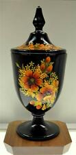 Fenton BLACK CANDY DISH w LID Vibrant Poppies OOAK One of a Kind *FREE USA SHIP