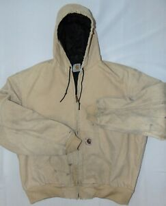 Carhartt Men's Distressed Work Jacket Brown Canvas Quilt Lined w/Hood Size 2XL