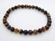 Delicate Men's Natural Gemstone Bracelet Tiger Eye 6mm beads elasticated