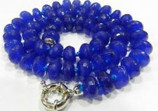 """6x10mm Faceted Blue Sapphire Abacus Necklace 18"""""""