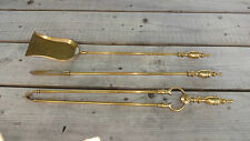 Vintage / Old Heavy Brass 3 Piece Companion / Fireside Set - Ornate Design