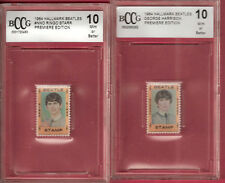 BEATLES GEORGE HARRISON & RINGO STARR 1964 STAMP RELIC BECKETT 10 MINT+ FAB FOUR