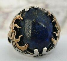 Turkish Ottoman  Lapis Lazuli Gemstone 925 Sterling Silver Mens Ring Gemstone