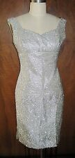 RARE STUNNING VINTAGE SILVER STRAND METALLIC 1960'S COCKTAIL SHIFT DRESS SIZE 9