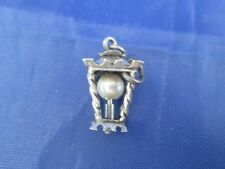 VINTAGE STERLING SILVER LAMP POST WITH A PEARL BULB CHARM
