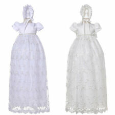 Stunning Infant Embroidered Baby Girls Long Baptism Gown with Bonnet
