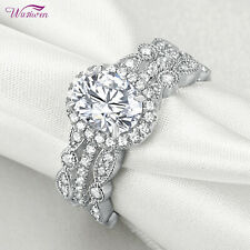 2ct Oval White Aaa Cz Size 5 3pcs Wedding Bands Engagement Ring Set For Women