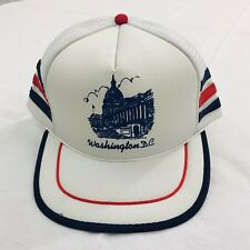 Vintage Washington DC Snapback Hat Trucker Cap Mesh Adjustable White