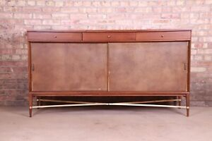 Paul McCobb for Directional Mahogany, Brass, and Leather Credenza