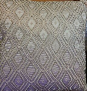 """Hudson Park Collection Beaded Embellished Geo 20"""" Decorative Pillow Beige"""