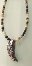 Stainless Steel Wing  Pendant Necklace With Semi precious Stone Beads