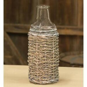 Grey washed Seagrass Bottle 7.5""