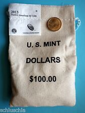 "2013 SACAGAWEA ""Native"" American Dollar Coin ""D"" 100 STk. im Original Sack RAR"