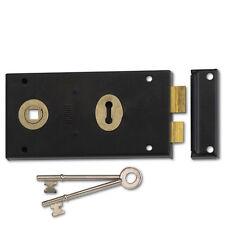 Union 1448 Rim Deadlock 1 Lever Double Handed Left or Right 2 Keys Black