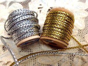 "Vintage Antique Cord 1/16"" French 1900s Gold Silver 3yds Metallic & Spun Rayon"