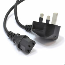 Power Cord UK Plug to IEC Cable (PC Mains Lead) C13  2m