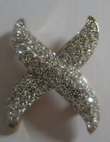 SWAROVSKI SWAN SIGNED CLEAR CRYSTAL HUGS X  SILVER PAVE PIN BROOCH