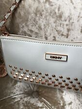 DKNY White /Rose Gold Trim- Leather Clutch  Bag with shoulder strap - lovely !