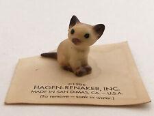 Vintage Hagen Renaker Siamese Kitten Miniature Figurine Original Card